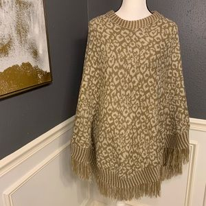 Do Everything In Love leopard print poncho